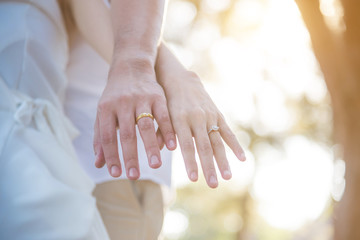 Couple hands with rings over sunset background