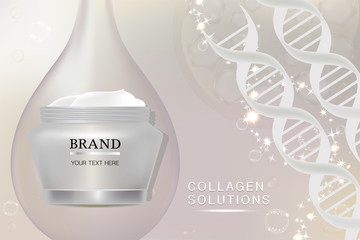 Beauty product, white cosmetic container with advertising background ready to use, luxury skin care ad, vector illustration.