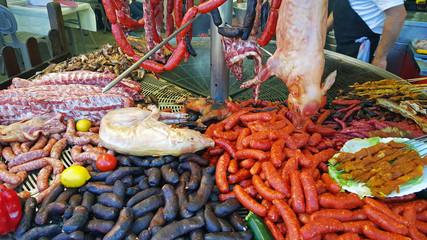 celebración de un gran banquete de carne