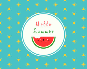 Hello summer design with a slice of watermelon with a bite