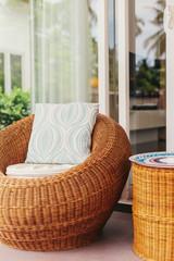 Wicker furniture in modern interior design, luxury villa outdoor