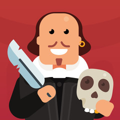 Vector flat icon of William Shakespeare with skull. The creation of poetry. A genius writes a play. Creation of a literary masterpiece. Classic english literature. Funny picture of the writer.