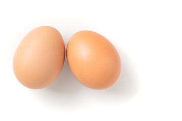 Couple brown chicken egg on white background
