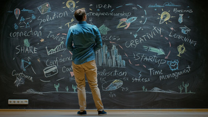 Creative Entrepreneur Stands Before Blackboard Looks at the Blackboard With Inspirational Words and...