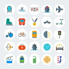 Modern Simple Set of transports, hotel, sports Vector flat Icons. Contains such Icons as  sea,  stick,  car,  transmission,  wheel and more on white cricle background. Fully Editable. Pixel Perfect.