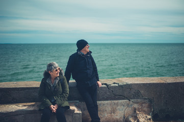 Senior couple relaxing by the sea