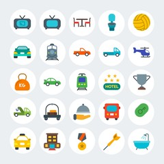 Modern Simple Set of transports, hotel, sports Vector flat Icons. Contains such Icons as  yellow,  movie,  cab,  race,  interior and more on white cricle background. Fully Editable. Pixel Perfect.