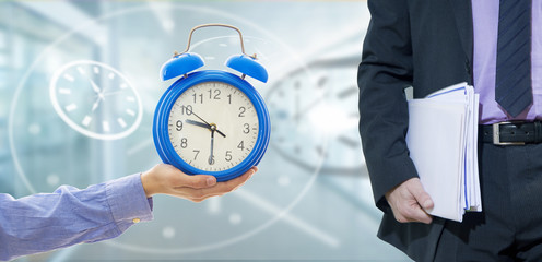 business man and clock, concept of time