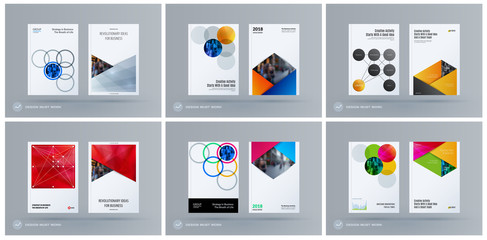 Brochure design round template. Colourful modern abstract set, annual report with circles rings for branding.