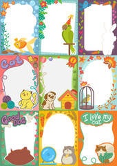 Frame kids photo vector picture of cartoon animals pets or birds on children photography border or kids photoframes template for baby photograph in childhood illustration set