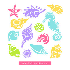 Vector set of sea horse, starfish, cancer, seashells