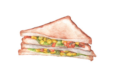Sandwich isolated on white background. Watercolor illustration
