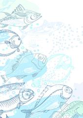 Vector design of sea fish. Doodle background