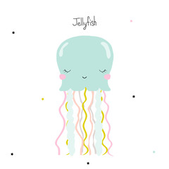 Cute little jellyfish. Kids graphic. Vector hand drawn illustration.