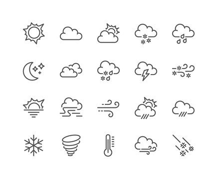 Simple Set of Weather Related Vector Line Icons. Contains such Icons as Wind, Blizzard, Sun, Rain and more. Editable Stroke. 48x48 Pixel Perfect.