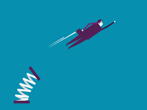 Businessman fly with spring. Vector illustration business concept, Achievement, Cartoon style.
