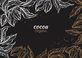 Vector graphic frame of cocoa tree, branch