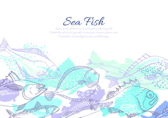 Vector template of nature seafish.