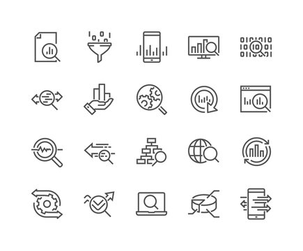 Simple Set of Data Analysis Related Vector Line Icons. Contains such Icons as Charts, Graphs, Traffic Analysis, Big Data and more. Editable Stroke. 48x48 Pixel Perfect.