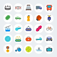 Modern Simple Set of transports, hotel, sports Vector flat Icons. Contains such Icons as  swimming,  pool,  field,  equipment, medal and more on white cricle background. Fully Editable. Pixel Perfect.