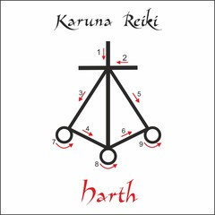 Karuna Reiki. Energy healing. Alternative medicine. Harth Symbol. Spiritual practice. Esoteric. Vector