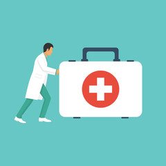 Doctor ambulance. Medic with first aid kit box hurry to help.  Illustration flat style. Isolated on background. Medical equipment. Template for web design. Healthcare concept. Emergency service.