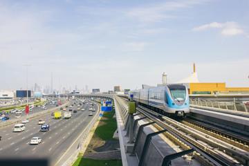 Metro train Dubai railway