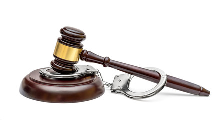 Gavel with stand and handcuffs on white background.
