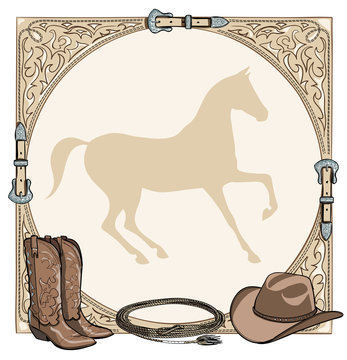 Cowboy horse equine riding tack tool in the western leather belt frame. Western boot, hat, lasso rope and horse silhouette. Hand drawing vector cartoon background.