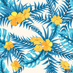 Blue tropical leaves, seamless pattern.