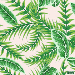 Green tropical leaves, seamless pattern.