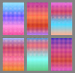 Abstract dotted pink and blue gradients for smartphone screen backgrounds. Set of soft, deep, shiny gradiented wallpaper with halftone effect for mobile apps, ui design