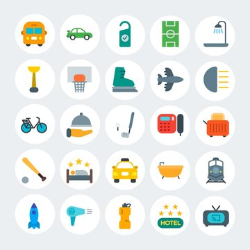 Modern Simple Set of transports, hotel, sports Vector flat Icons. Contains such Icons as dryer,  movie,  blow,  motion,  room,  spa and more on white cricle background. Fully Editable. Pixel Perfect.