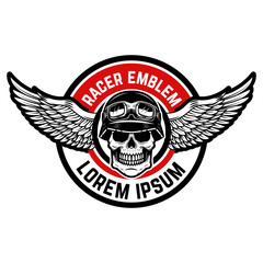 Template of the emblem of racer club. Skull with wings. Design element for logo, label, badge, sign.
