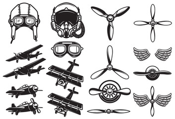 Set of airplanes, propellers. Aviation. Design element for logo, label, badge, sign. Wall mural