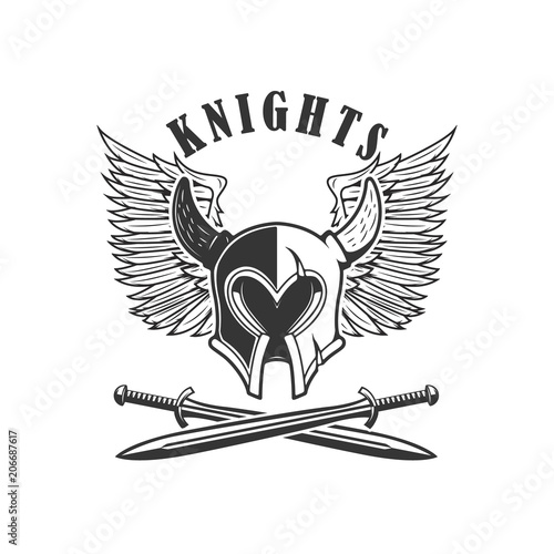 Emblem template with medieval knight helmet and crossed swords ...