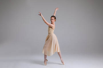 The reflection of a dancing lady! Young attractive gentle ballerina dancing and posing on the isolated grey background indoors.