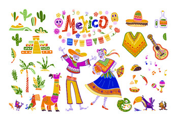 Big vector set of mexico elements, skeleton characters, animals in flat hand drawn style isolated on white background. Icons for fiesta, celebration, national pattern, decoration, traditional food.