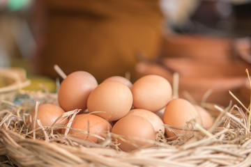 illustration of many eggs are in the basket.