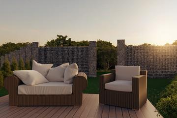 3d rendering of rattan garden furniture on wooden patio at garden in the evening sunshine
