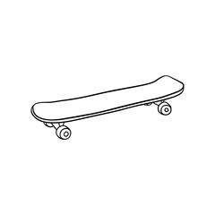 Skate board sketch icon. Vintage retro urban, street transport, extreme sport equipment. Skateboarding board with wheels. Vector monochrome isolated illustration.