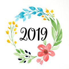 2019 happy new year on colorful watercolor flower wreath on white background, new year greeting card, banner