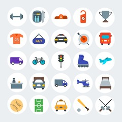 Modern Simple Set of transports, hotel, sports Vector flat Icons. Contains such Icons as  equipment, winner,  helicopter,  podium and more on white cricle background. Fully Editable. Pixel Perfect.
