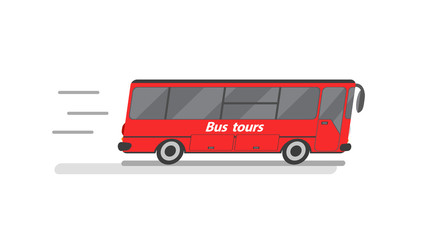 Vector isolated tour bus on white background.