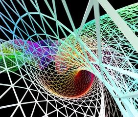 数式によるカラフルなワイヤーフレームの背景