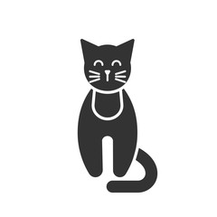 Black isolated icon of cat on white background. Silhouette of cat, front view.
