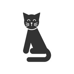 Black isolated icon of cat on white background. Silhouette of sitting cat.