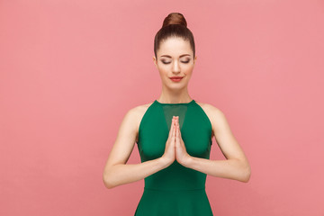 Spoed Foto op Canvas Zen Spiritual practice. Woman closed eyes, doing meditation, mudram peace