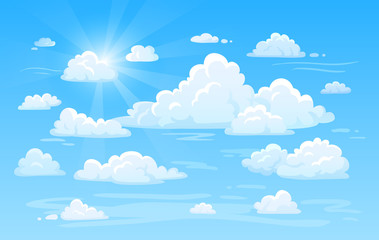 Blue clean air sky with clouds panorama. Cloud background vector illustration
