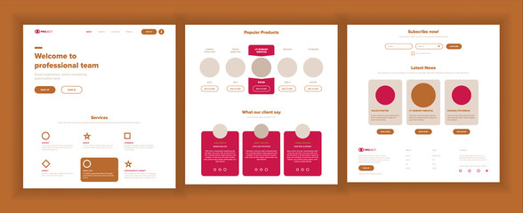 Website Page Vector. Business Website. Web Page. Landing Design Site Scheme Template. Product Testimonial. Company Concept. Creativity Goal. Illustration